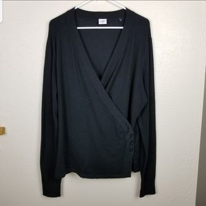 Cabi| Black ballet wrap sweater size extra large